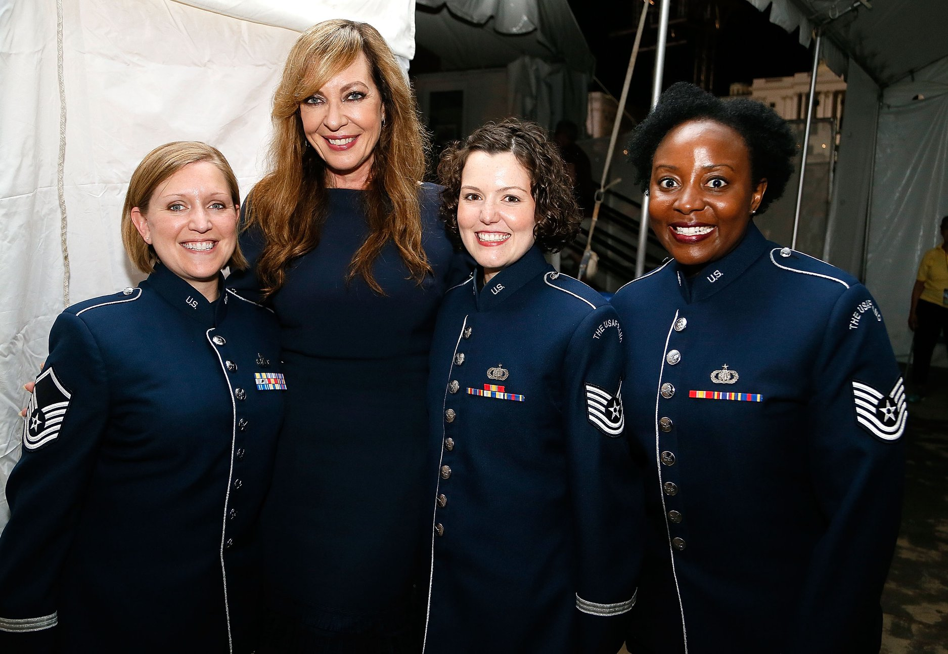 Actor Allison Janney backstage with members of the U.S. Air Force Academy at the 2018 <em>National Memorial Day Concert</em> rehearsal.