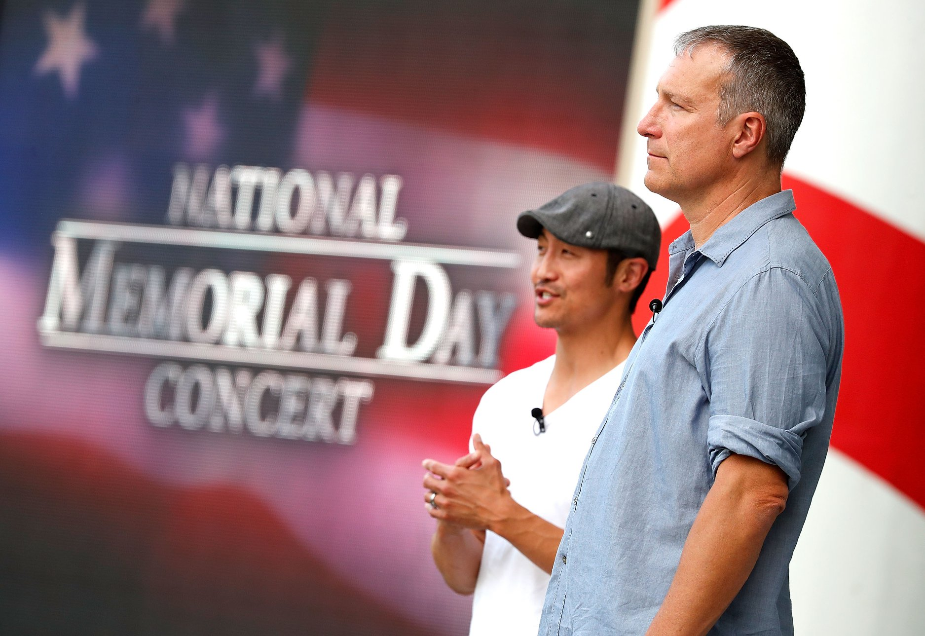 Actors Brian Tee and John Corbett rehearsing for the 2018 <em>National Memorial Day Concert</em>.