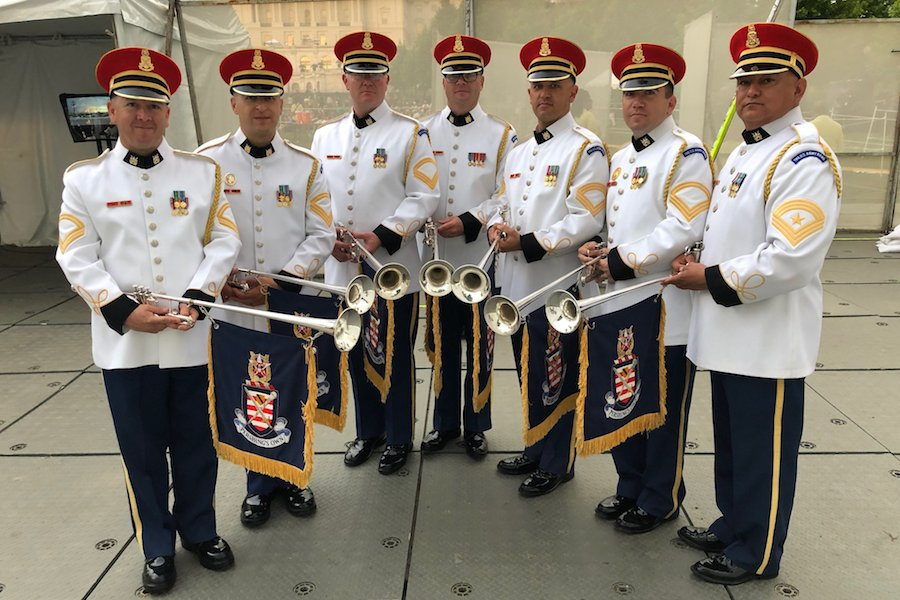 The U.S. Army Herald Trumpets backstage at the 2019 <em>National Memorial Day Concert</em> rehearsal.