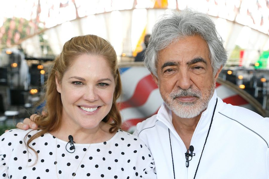 Actors and co-hosts Mary McCormack and Joe Mantegna rehearsing for the 2019 <em>National Memorial Day Concert</em>.