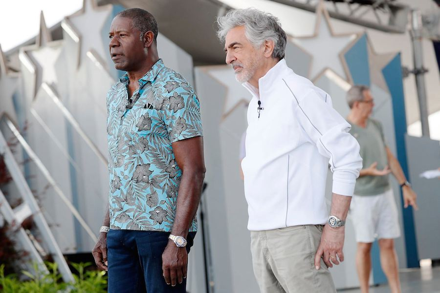 Actors Dennis Haysbert and Joe Mantegna rehearsing for the 2019 <em>National Memorial Day Concert</em>.