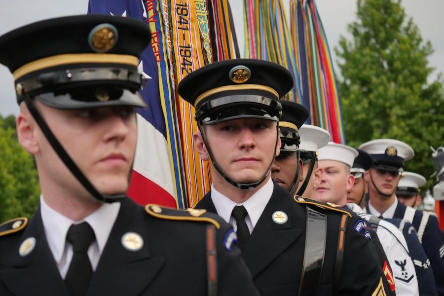 The Armed Forces Color Guard backstage for the 2019 <em>National Memorial Day Concert</em> rehearsal.