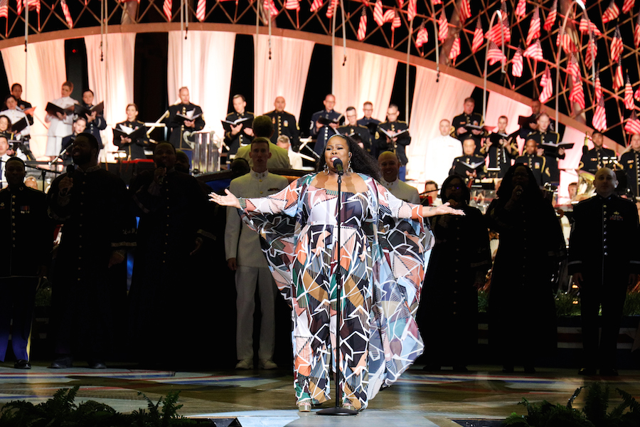 "Amber Riley performs ""I'll Stand By You"" at the 2019 <em>National Memorial Day Concert</em>."