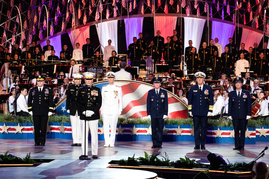 Chairman of the Joint Chiefs of Staff, GEN Joseph F. Dunford, Jr., addresses the crowd at the 2019 <em>National Memorial Day Concert</em>.