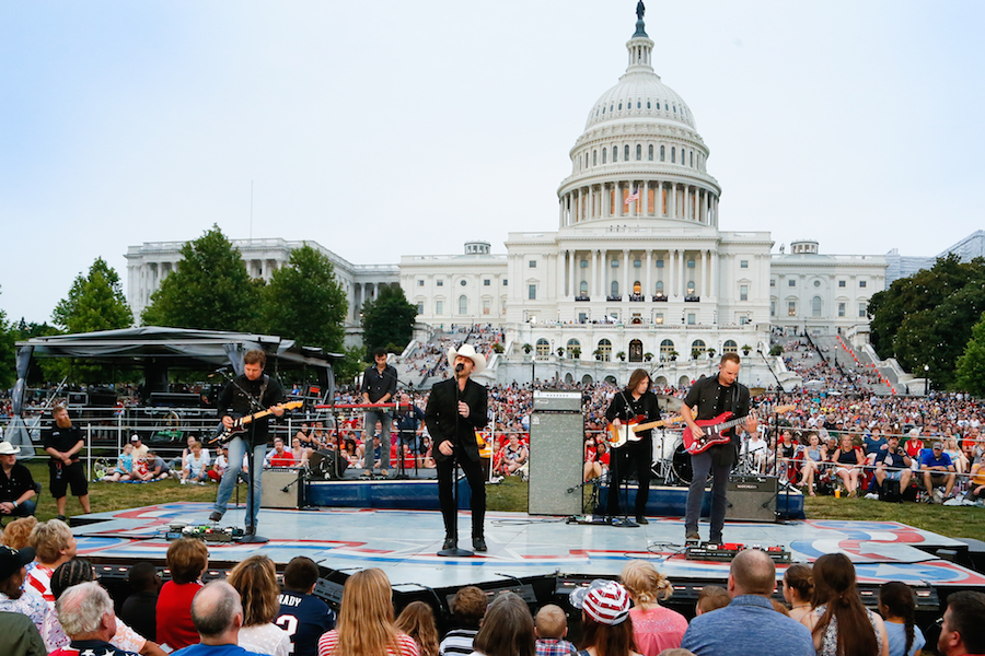 "Justin Moore performs ""The Ones Who Didn't Make It Back Home"" at the 2019 <em>National Memorial Day Concert</em>."