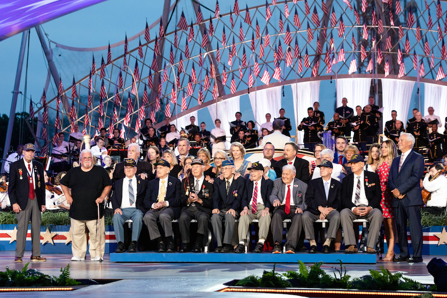 D-Day veterans onstage receiving a special tribute at the 2019 <em>National Memorial Day Concert</em>.