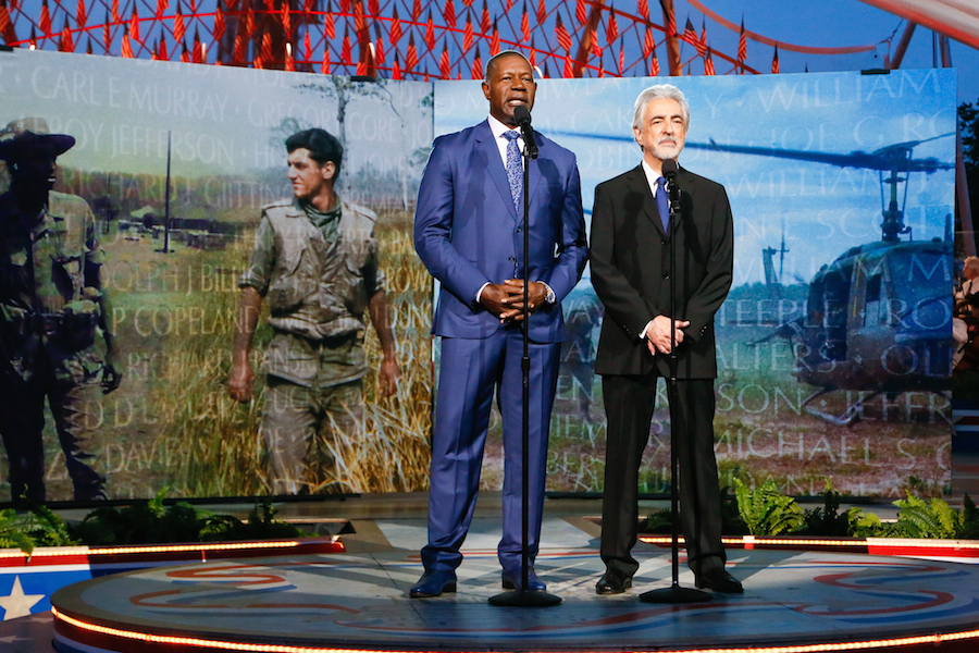 "Actors Dennis Haysbert and Joe Mantegna share the story of Vietnam War veterans Ernest ""Pete"" Peterson and Brad Kennedy at the 2019 <em>National Memorial Day Concert</em>."