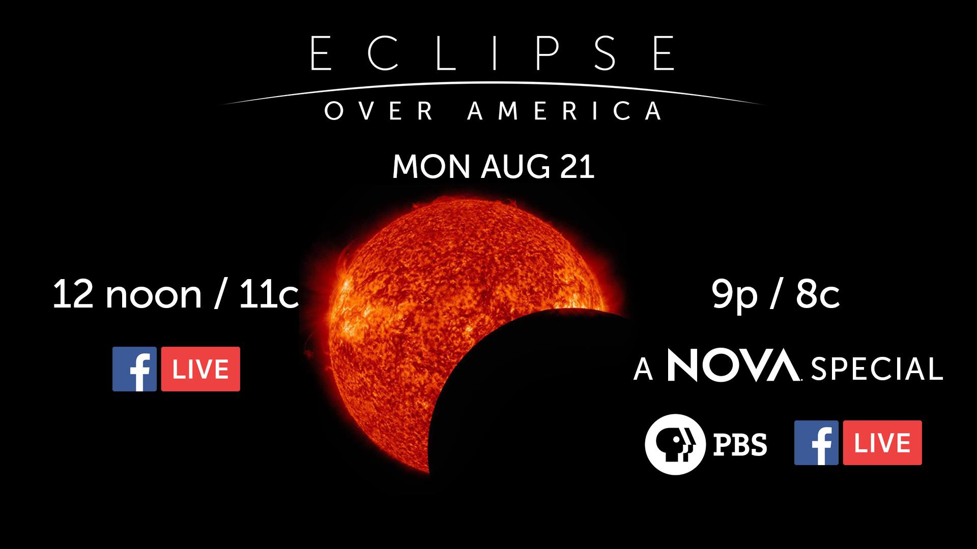 NOVA and PBS NewsHour team up to bring you LIVE coverage of the solar eclipse beginning at 12n/ET