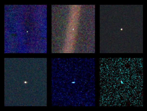 photos taken from Voyager of planets in our solar system