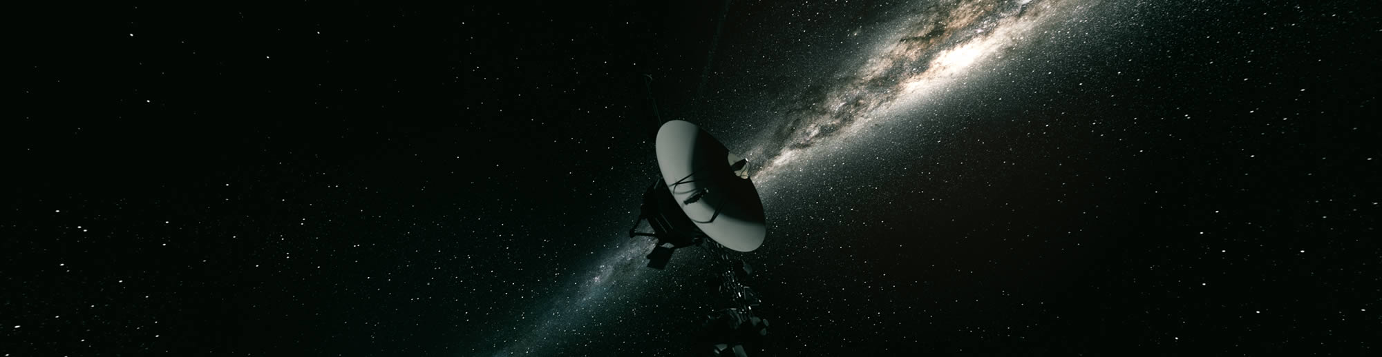Artist rendering of Voyager flying in space with galaxy of stars in background