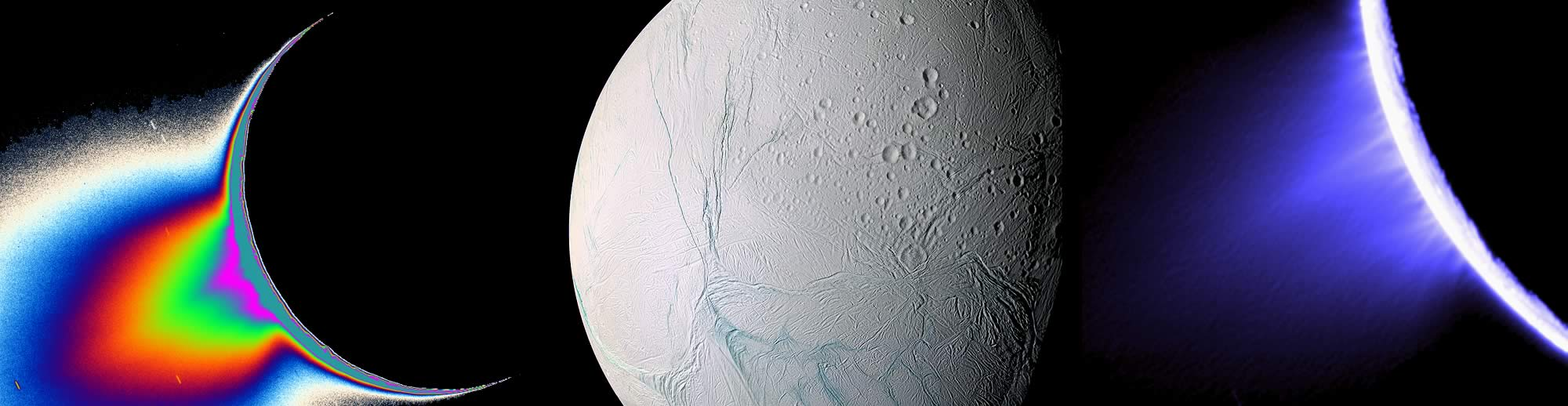 Saturn's moon Enceladus and images of plume generated by geysers on the moon