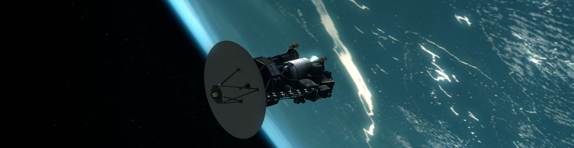 Voyager with blue planet in background