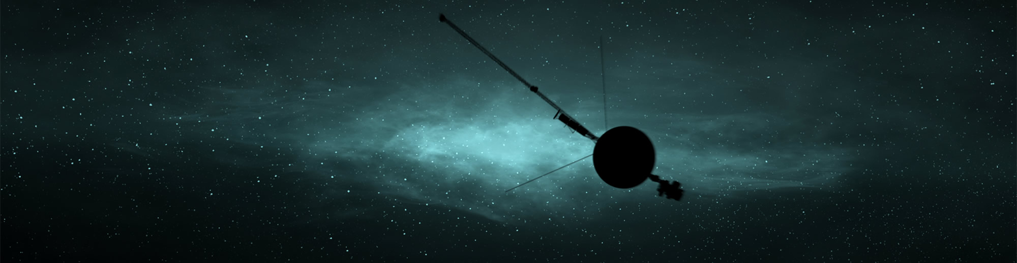 silhouette of Voyager with galaxy of stars behind it