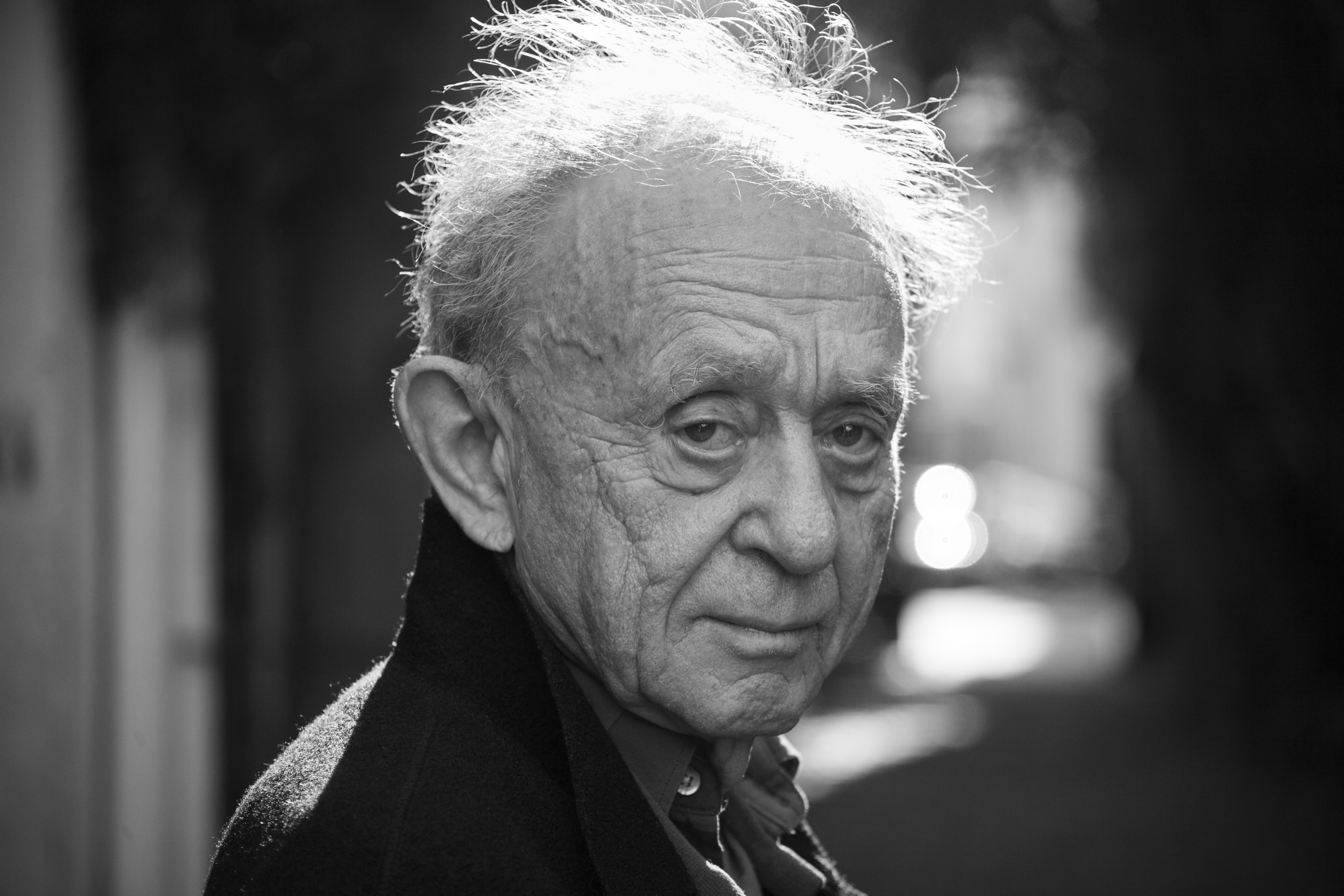Black and white photo of Frederick Wiseman, 2015, by Madigan Heck