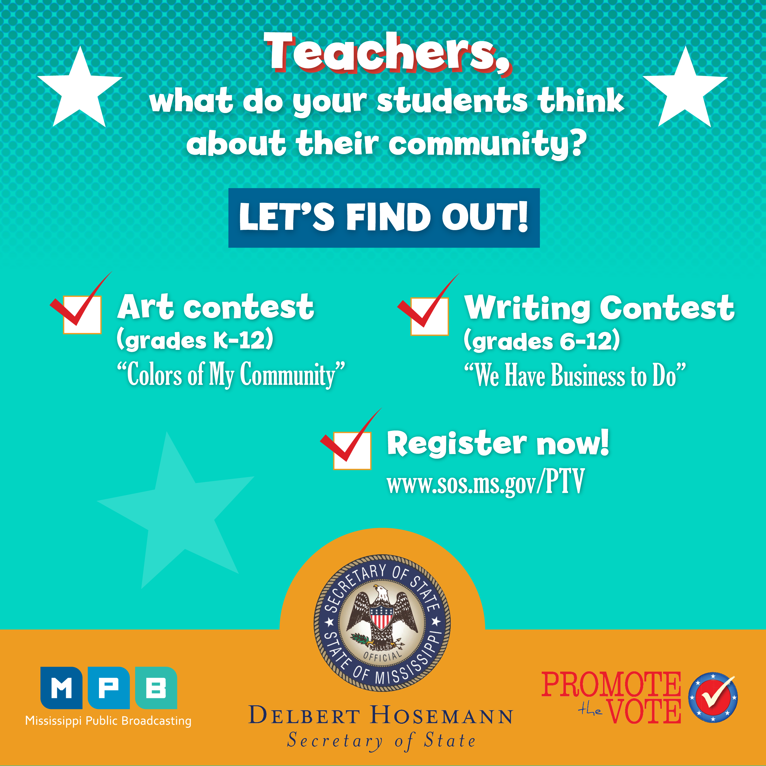Find out more about the Promote the Vote writing and art contests for students.