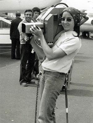 Vintage camera woman