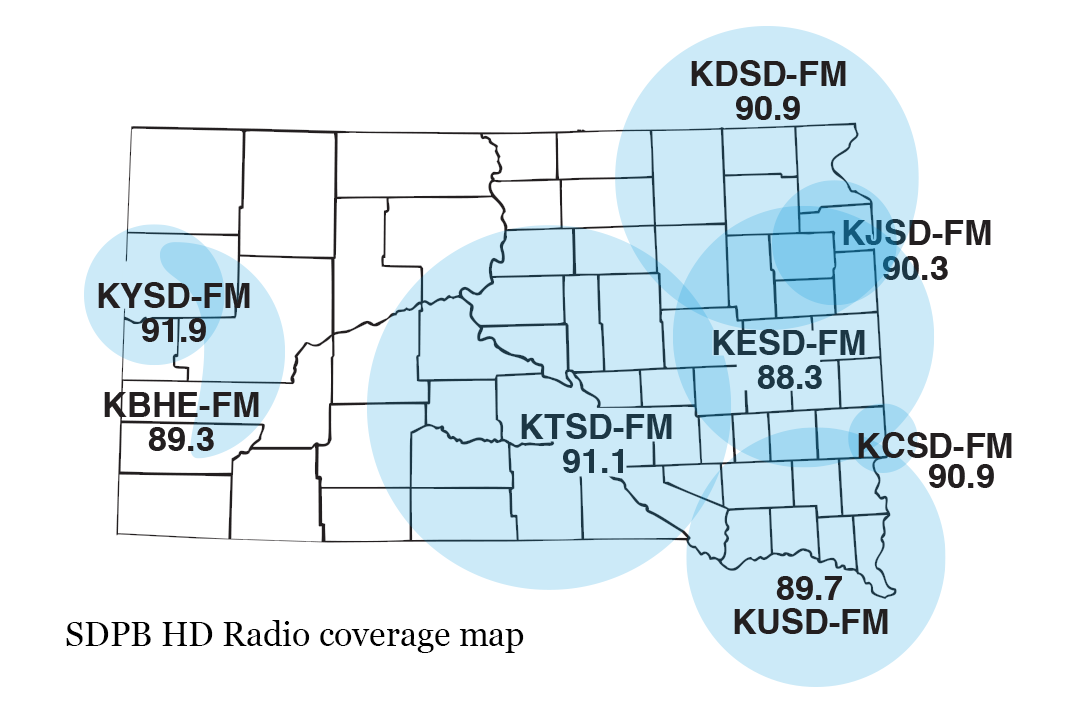 SDPB Radio HD Coverage Map