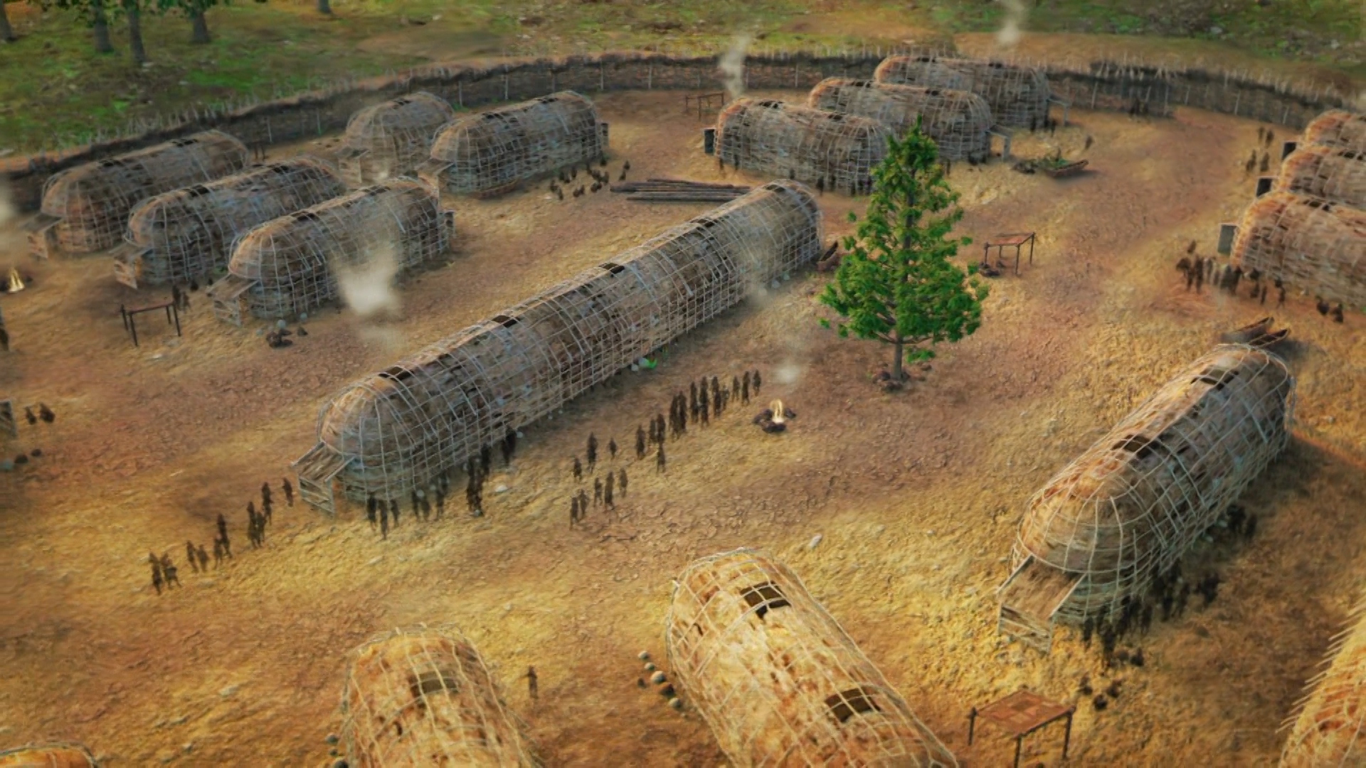 Graphic depiction longhouses in Haudenosaunee settlement. From Native America, Episode Two titled Nature to Nations.