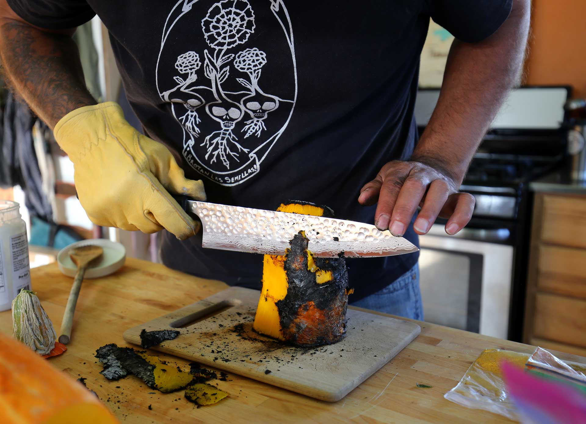Once the squash is ready, the charred skin is removed.