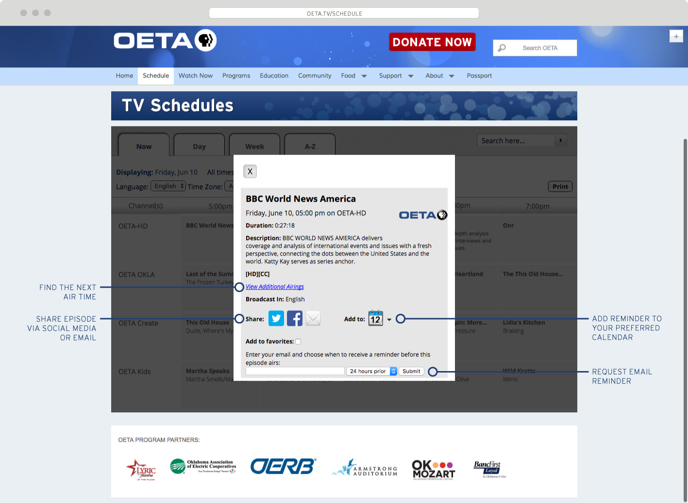 New Schedule Page Unveiled for OETA tv