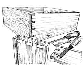 Lap dovetails show only on the sides of a drawer.