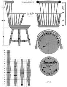 this Windsor chair swivels on rollers inset between the two seat boards. Click on the image for a larger version of the image.