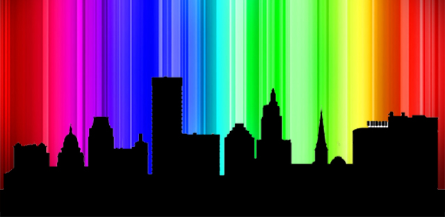 Providence skyline with spectrum background