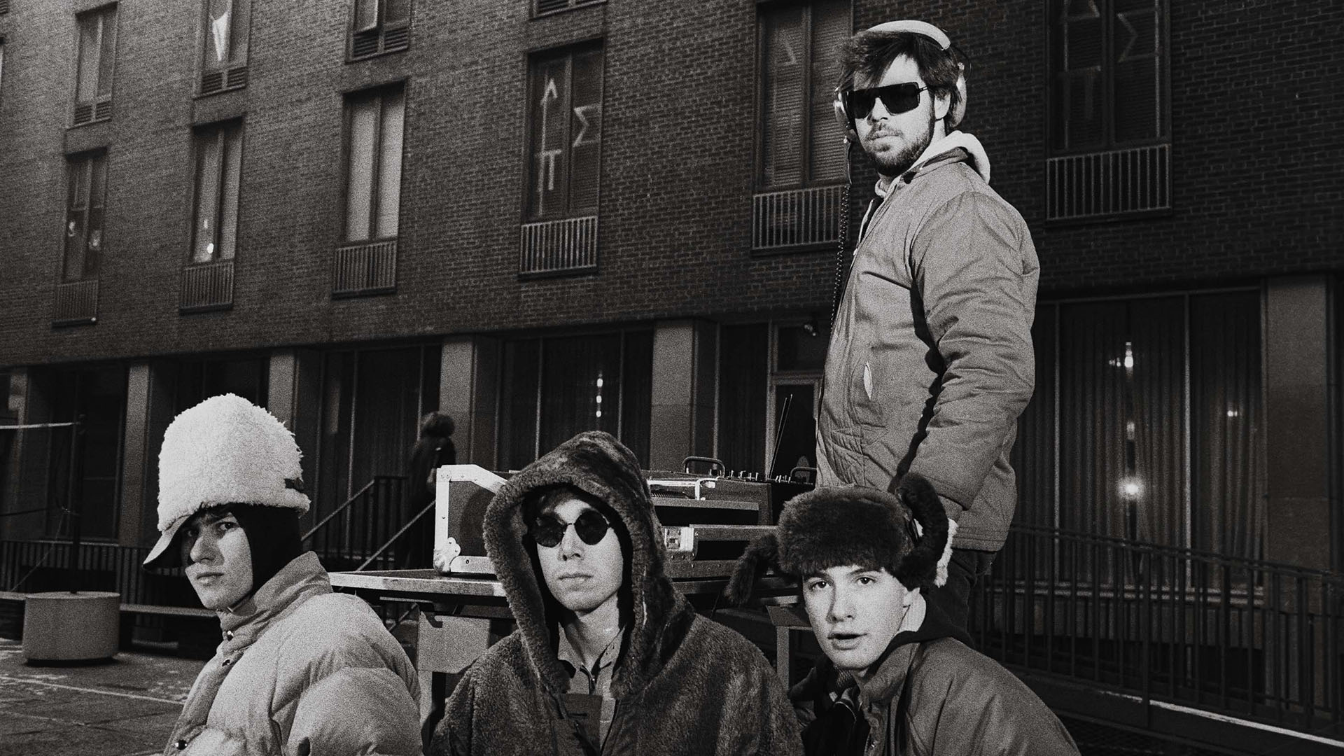 Beastie Boys with producer Rick Rubin.