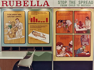 A display used to educate the public on rubella vaccination and the mother-to-fetus transmission of this virus.