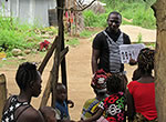Alhaji Kamara, surveillance officer for GOAL Global speaks about the dangers of Ebola to villagers in the KBM Chiefdom in Sierra Leone.