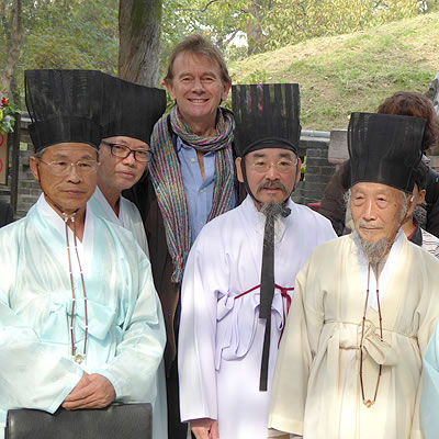 Michael Wood with Confucian monks in Qufu