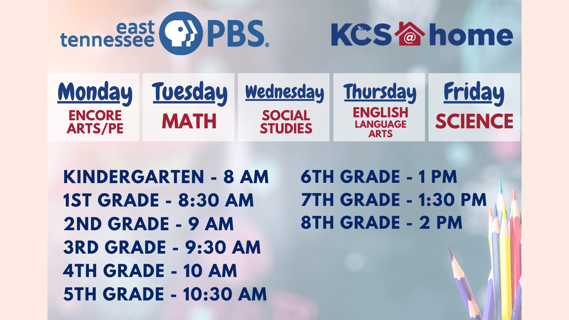 Weekdays from 8 a.m. until 11 a.m., and then again from 1 p.m. until 2:30