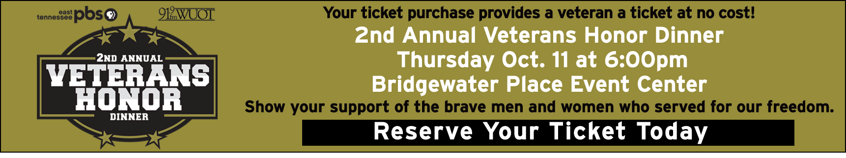 Join us for the Second Annual Veterans Honor Dinner