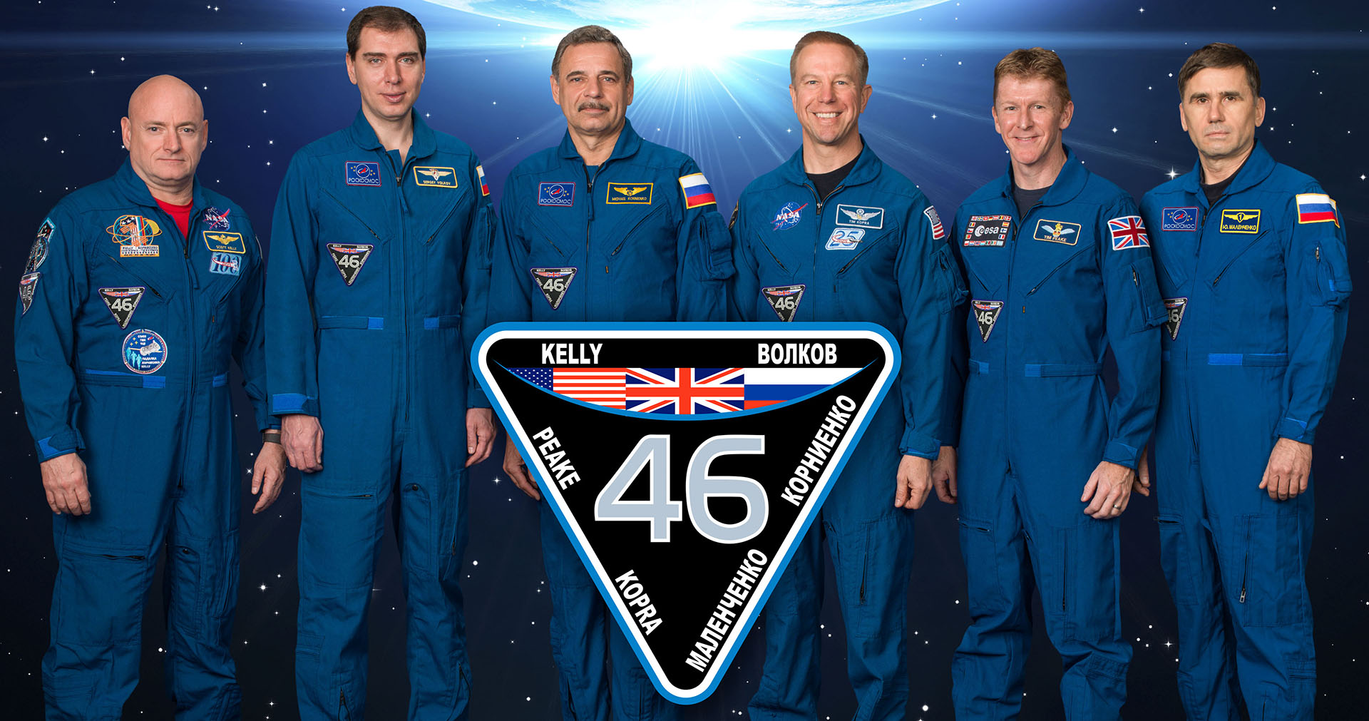 Expedition 46 crew, from left: Scott Kelly, Mikhail Kornienko, Sergey Volkov, Tim Peake, Tim Kopra and Yuri Malenchenko.
