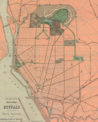 Olmsted's sketch map of Buffalo showing the first three parks in the park system inrelation to the general plan of the city, 1868.