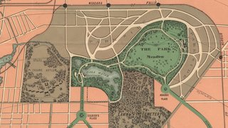 Olmsted's map of The Park (Delaware Park), 1868.