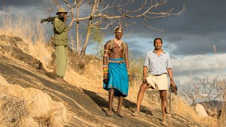 Host Dr. M. Sanjayan with Samburu tribesman in northern Kenya during the Singing Wells film shoot.