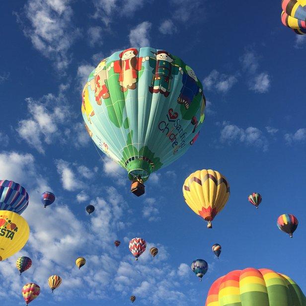 modern balloons in flight