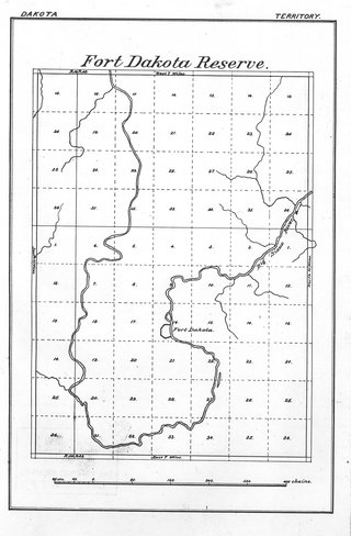 fort dakota military reservation map circa 1865