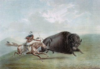 painting of Native American hunting bison