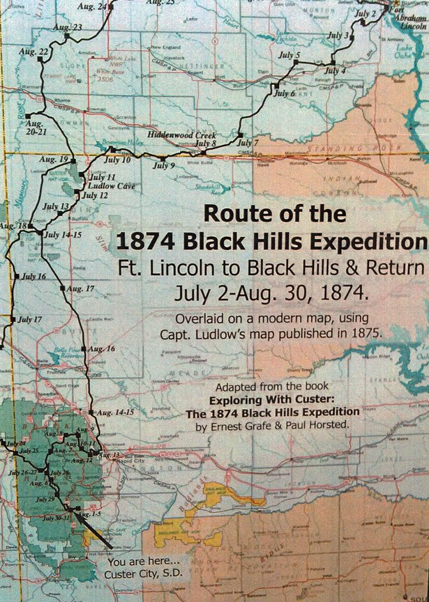 Map of Custer's 1874 Black Hills expedition