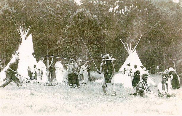 re-enacted native encampment