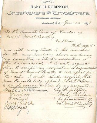 Henry Robinson Resignation Letter