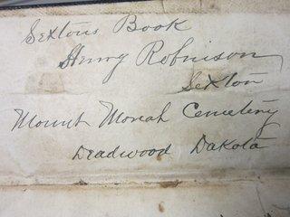 Mount Moriah Sexton's book inscription