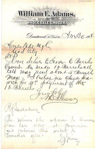 Adams note to Homestake Mine