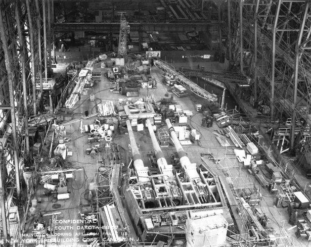 battleship south dakota under construction, 1940