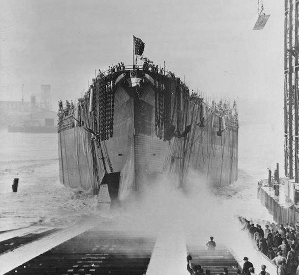 battleship south dakota during launch