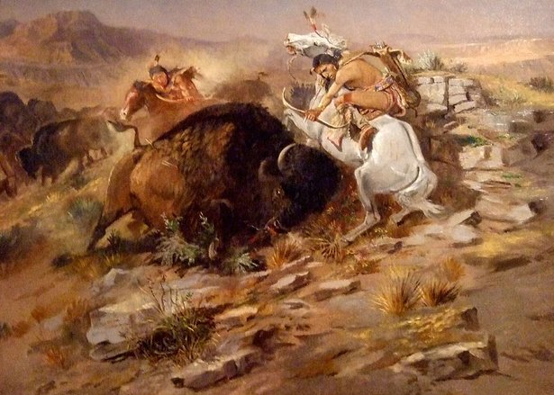 russell painting of buffalo hunt