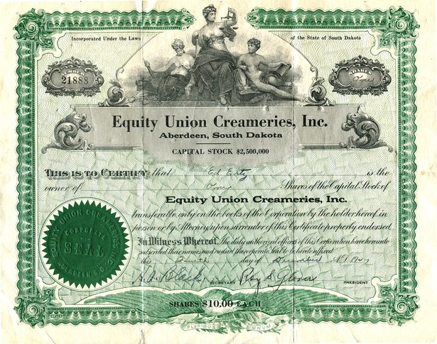 creamery stock certificate