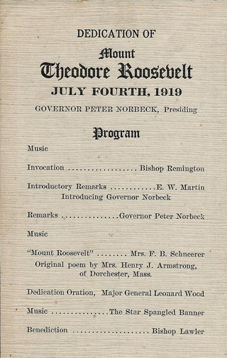 Program from the July 4, 1919 dedication ceremony.